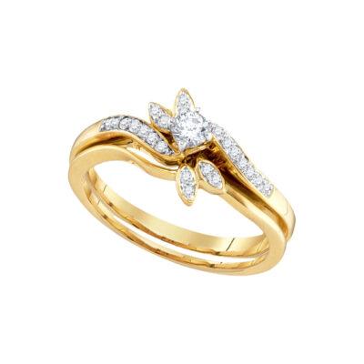 10k Yellow Gold Round Diamond Bridal Wedding Ring Band Set 1/4 Cttw