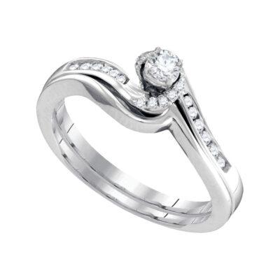 10k White Gold Round Diamond Bridal Wedding Ring Band Set 1/4 Cttw