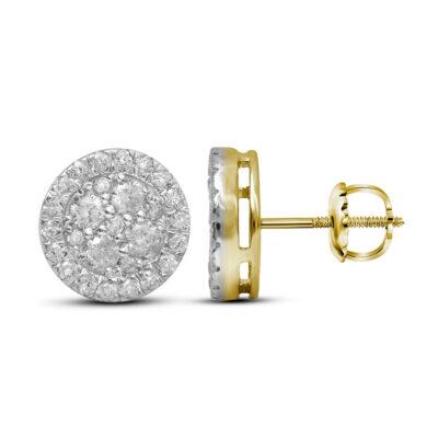10kt Yellow Gold Womens Round Diamond Framed Flower Cluster Earrings 1 Cttw