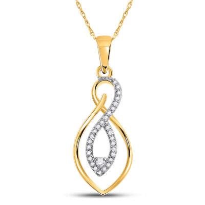 10kt Two-tone Gold Womens Round Diamond Fashion Pendant 1/8 Cttw
