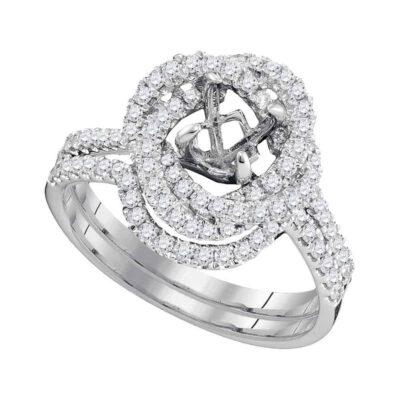 18kt White Gold Womens Round Diamond Semi-Mount Wedding Bridal Ring Band Set 5/8 Cttw