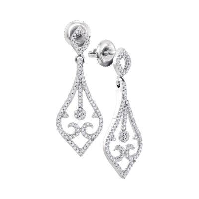 10kt White Gold Womens Round Diamond Scroll Teardrop Dangle Earrings 1/3 Cttw