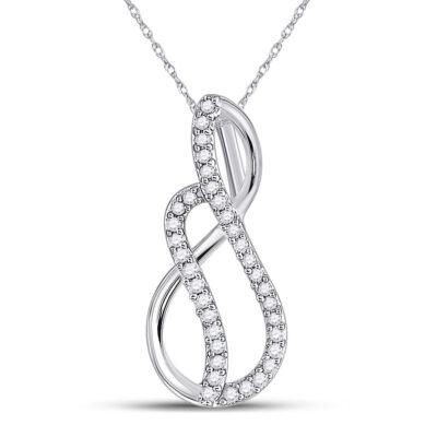 10kt White Gold Womens Round Diamond Infinity Pendant 1/10 Cttw