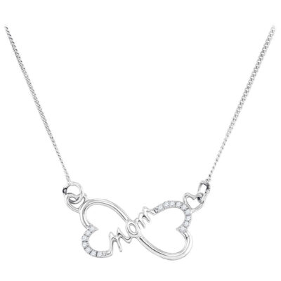 Sterling Silver Womens Round Diamond Mom Heart Pendant Necklace 1/12 Cttw