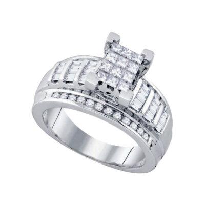 10kt White Gold Princess Diamond Cluster Bridal Wedding Engagement Ring 7/8 Cttw Size 5.5