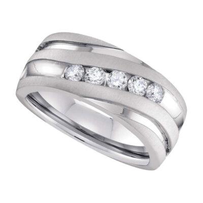 10k White Gold Mens Round Diamond Wedding Anniversary Band Ring 1 Cttw