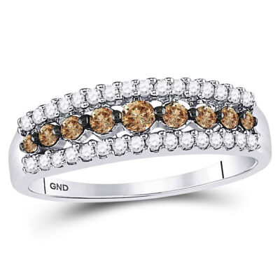 10k White Gold Womens Brown Diamond Band Ring 1/2 Cttw Size 8