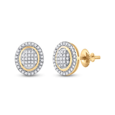 10kt Yellow Gold Womens Round Diamond Oval Earrings 1/4 Cttw