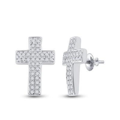 10kt White Gold Womens Round Diamond Cross Earrings 1/5 Cttw