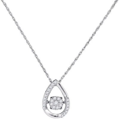 10kt White Gold Womens Round Diamond Teardrop Frame Moving Twinkle Cluster Pendant 1/6 Cttw