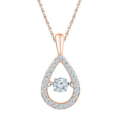 10kt Rose Gold Womens Round Diamond Moving Twinkle Teardrop Pendant 1/4 Cttw