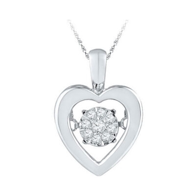 Sterling Silver Womens Round Diamond Moving Twinkle Heart Pendant 1/10 Cttw