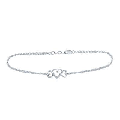 Sterling Silver Womens Round Diamond Triple Heart Bracelet 1/10 Cttw