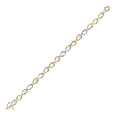 10kt Yellow Gold Womens Round Diamond Fashion Link Bracelet 3/4 Cttw