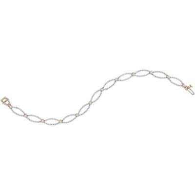 10kt Yellow Gold Womens Round Diamond Fashion Bracelet 1-1/2 Cttw