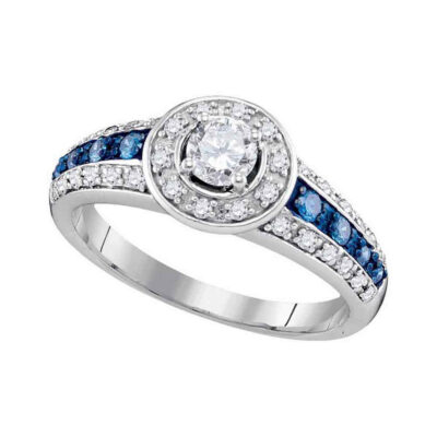 10kt White Gold Round Blue Color Enhanced Diamond Solitaire Bridal Wedding Ring 5/8 Cttw