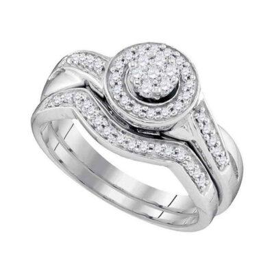 10k White Gold Round Diamond Cluster Bridal Wedding Ring Band Set 1/3 Cttw