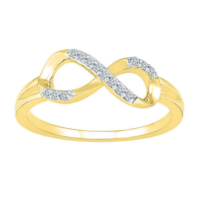 10kt Yellow Gold Womens Round Diamond Infinity Fashion Ring 1/12 Cttw