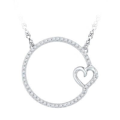 10kt White Gold Womens Round Diamond Circle Heart Pendant Necklace 1/5 Cttw