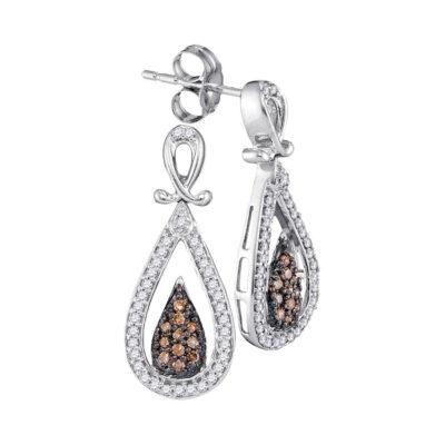 10kt White Gold Womens Round Brown Diamond Teardrop Dangle Earrings 1/3 Cttw