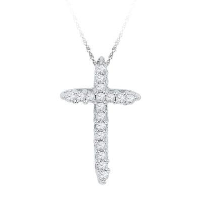 10kt White Gold Womens Round Diamond Cross Religious Pendant 1/4 Cttw