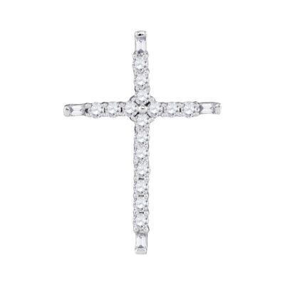 10kt White Gold Womens Round Diamond Cross Religious Pendant 1/5 Cttw