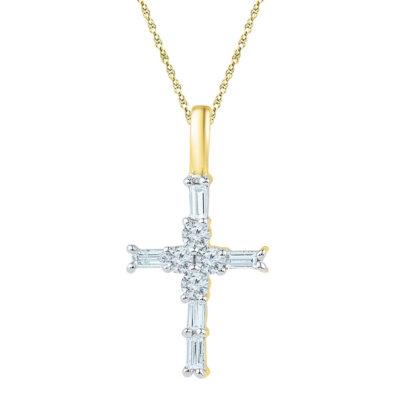 10kt Yellow Gold Womens Baguette Diamond Cross Pendant 1/4 Cttw
