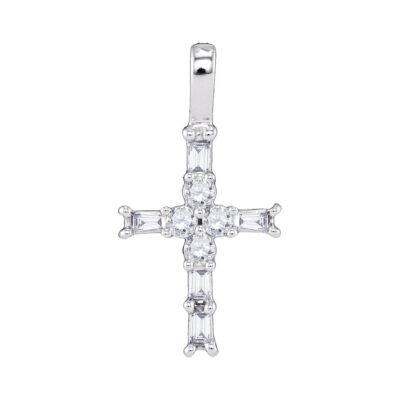 10kt White Gold Womens Radiant Baguette Diamond Cross Pendant 1/4 Cttw