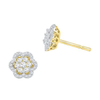 10kt Yellow Gold Womens Round Diamond Flower Cluster Stud Earrings 1/2 Cttw