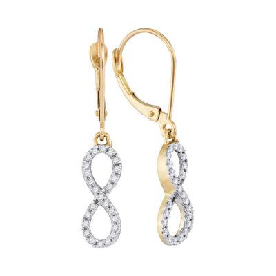10kt Yellow Gold Womens Round Diamond Infinity Dangle Earrings 1/4 Cttw