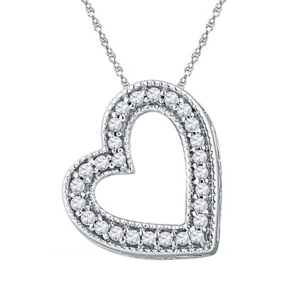 10kt White Gold Womens Round Diamond Heart Pendant 1/8 Cttw