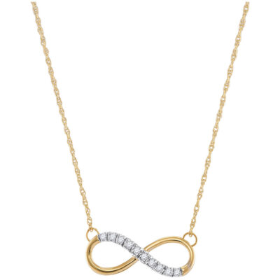 10kt Yellow Gold Womens Round Diamond Infinity Pendant Necklace 1/10 Cttw