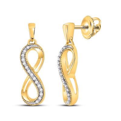 10kt Yellow Gold Womens Round Diamond Infinity Dangle Earrings 1/10 Cttw