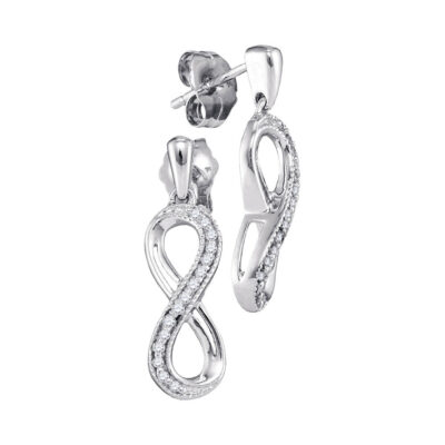 10kt White Gold Womens Round Diamond Infinity Dangle Earrings 1/10 Cttw