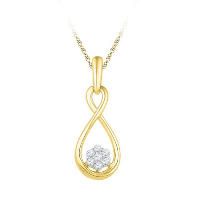 10kt Yellow Gold Womens Round Diamond Infinity Cluster Pendant 1/8 Cttw