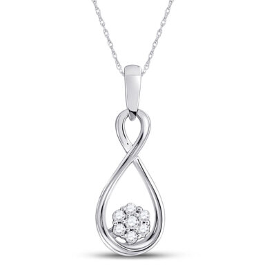10kt White Gold Womens Round Diamond Infinity Cluster Pendant 1/8 Cttw