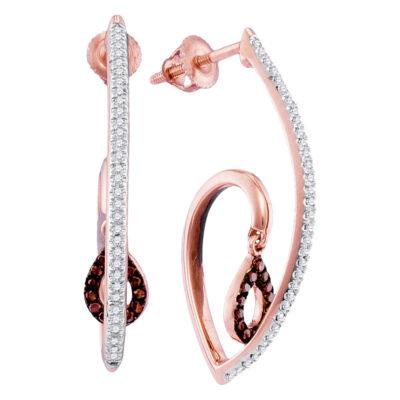 10kt Rose Gold Womens Round Red Color Enhanced Diamond Teardrop Dangle Earrings 1/4 Cttw