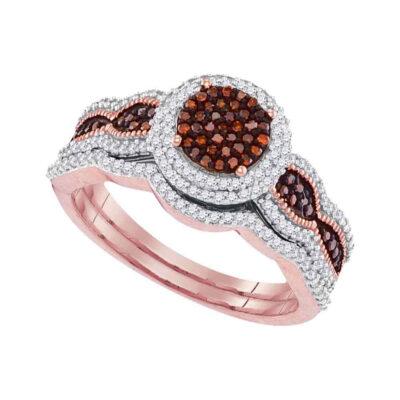 10kt Rose Gold Womens Round Red Color Enhanced Diamond Bridal Wedding Ring Set 1/2 Cttw