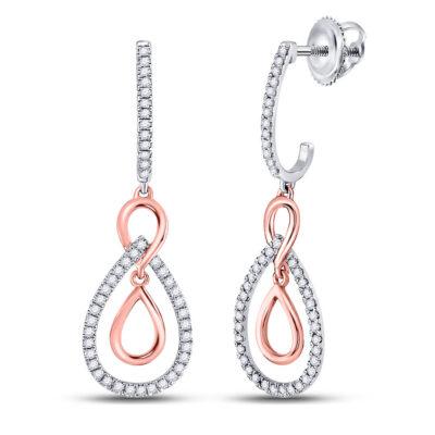 10kt Two-tone Gold Womens Round Diamond Teardrop Dangle Earrings 1/4 Cttw
