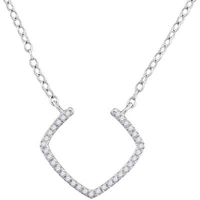 10kt White Gold Womens Round Diamond Fashion Necklace 1/10 Cttw