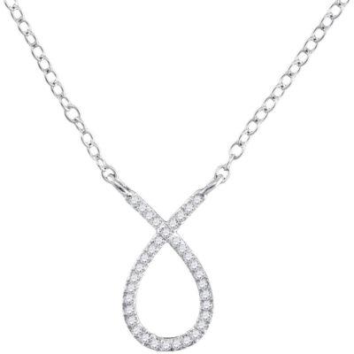 10kt White Gold Womens Round Diamond Teardrop Necklace 1/10 Cttw
