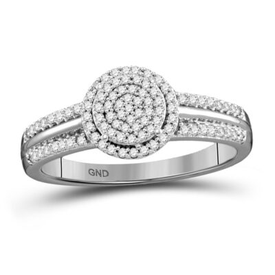 10kt White Gold Round Diamond Circle Cluster Bridal Wedding Engagement Ring 1/4 Cttw