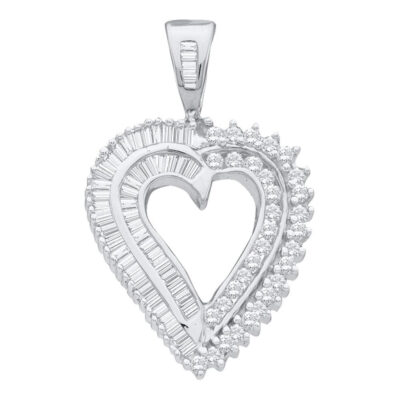 10kt White Gold Womens Round Diamond Heart Pendant 7/8 Cttw