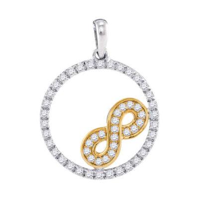 10kt Two-tone Gold Womens Round Diamond Infinity Circle Pendant 1/4 Cttw