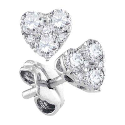 10kt White Gold Womens Round Diamond Heart Earrings 1/2 Cttw