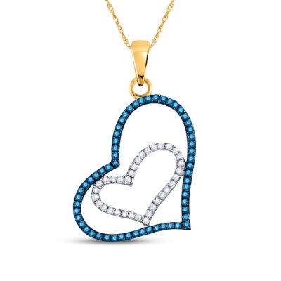 10kt Yellow Gold Womens Round Blue Color Enhanced Diamond Heart Pendant 1/4 Cttw