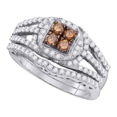 10kt White Gold Womens Round Brown Diamond Bridal Wedding Ring Band Set 1 Cttw