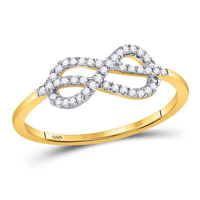 10kt Yellow Gold Womens Round Diamond Infinity Fashion Ring 1/6 Cttw