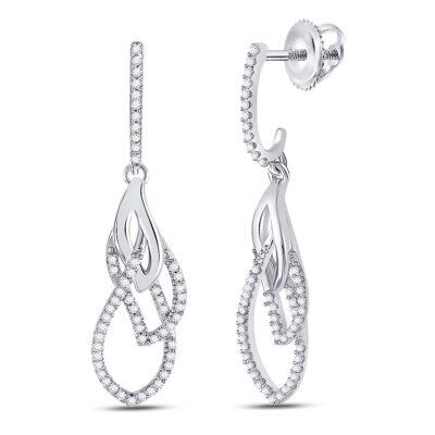 10kt White Gold Womens Round Diamond Dangle Earrings 1/4 Cttw