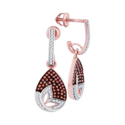 10kt Rose Gold Womens Round Red Color Enhanced Diamond Teardrop Dangle Earrings 3/8 Cttw